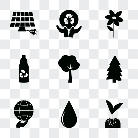 Set Of 9 simple transparency icons such as Plant and root, Drop, Global, Pine, Tree of circular foliage, Recycled bottle, Flower, Global recycling, Eco energy power, can be used for mobile, pixel