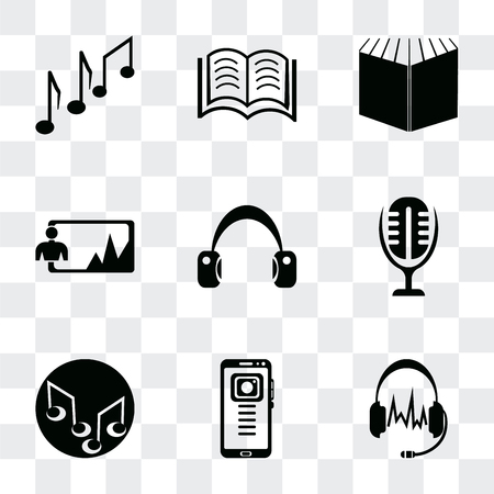 Set Of 9 simple transparency icons such as Headphones black shape, Mobile phone, Music note, Microphone interface, Headphone variant, Image, Open book cover, Books couple, can be