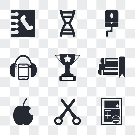 Set Of 9 simple transparency icons such as Calculator, Open scissors, Apple, eBook, Trophy, Mp3 player with headphones, Computer Mouse, DNA strand, Contact notebook, can be used for mobile, pixel