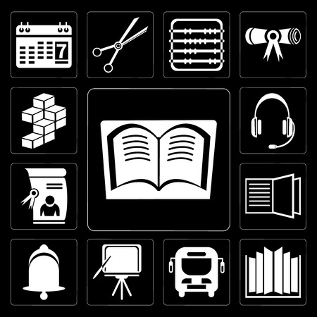 Set Of 13 simple editable icons such as Book, Open book, Bus, Blackboard, Bell, Diploma, Headset, Cube on black background