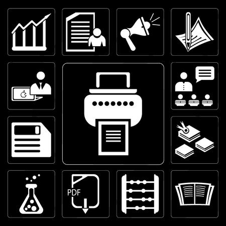 Satz von 13 einfach editierbaren Symbolen wie Drucker, offenes Buch, Abacus, Pdf, Flask, Diskette, Präsentation, Computer auf schwarzem Hintergrund