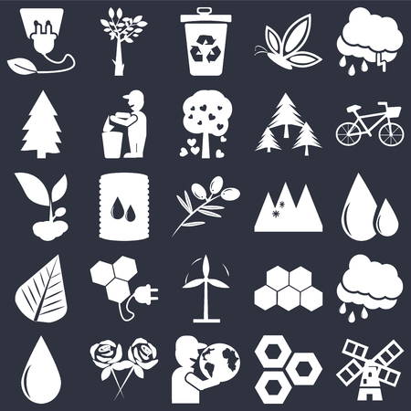 Set Of 25 icons such as Wind mills, Eco cell, Globe on hand, Flower, Drop, Bicycle, Snowy mountains, mill, Leaf, Pine, Recycle bin, Tree black background, web UI editable icon pack
