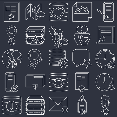 Set Of 25 icons such as User, Price tag, Mail, Server, Database, Notepad, Speech bubble, Smartphone, Placeholder, File on black background, web UI editable icon pack