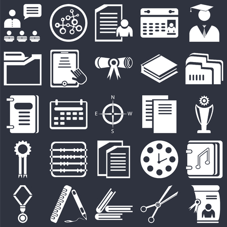 Set Of 25 icons such as Diploma, School material, Book, Ruler, Medal, Folder, Document, Copy, Folders, Exam, Research on black background, web UI editable icon pack