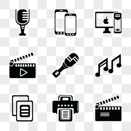 Set Of 9 simple transparency icons such as Movie clapper, Printer, Image variant, Music note, Mic interface, PC with monitor, Screen blank, Mic, can be used for mobile, pixel perfect