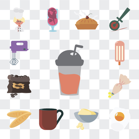 Set Of 13 simple editable icons such as Frappe, Fried egg, Dough, Coffee cup, Bread, Pastry bag, grain, Ice cream, Mixer on transparent background