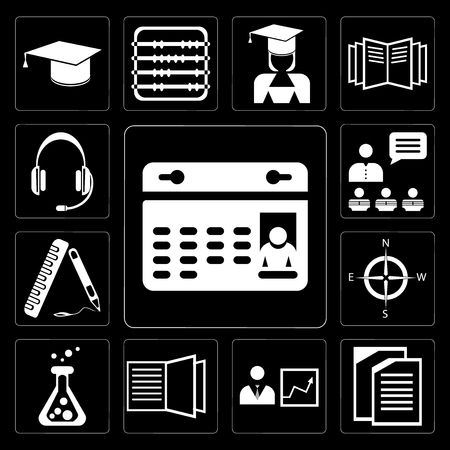 Set Of 13 simple editable icons such as Calendar, Copy, Presentation, Open book, Flask, Compass, Ruler, Headset on black background