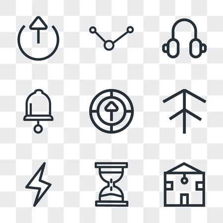 Set Of 9 simple transparency icons such as Home, Waiting, Lightning, Up arrow, Upload, Bell, Headphones, Share, Export, can be used for mobile, pixel perfect vector icon pack on transparent
