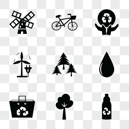 Set Of 9 simple transparency icons such as Recycled bottle, Tree, bag, Drop, Forest, Eco Plug, Global recycling, Bicycle, Wind mills, can be used for mobile, pixel perfect vector icon pack