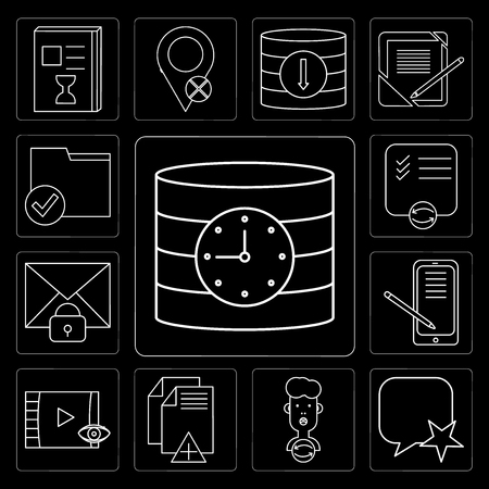 Set Of 13 simple editable icons such as Database, Speech bubble, User, File, Video player, Smartphone, Mail, List, Folder on black background