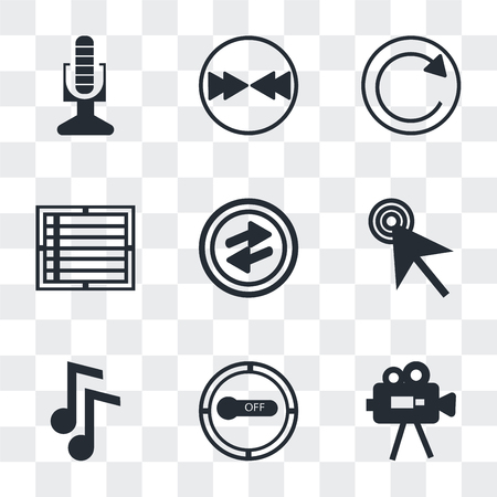 Set Of 9 simple transparency icons such as Video Camera, Button on off, Note Blog, Mouse cursor, o Arrow, Create list button, Refresh Download arrow, Broadcast microphone, can be used for
