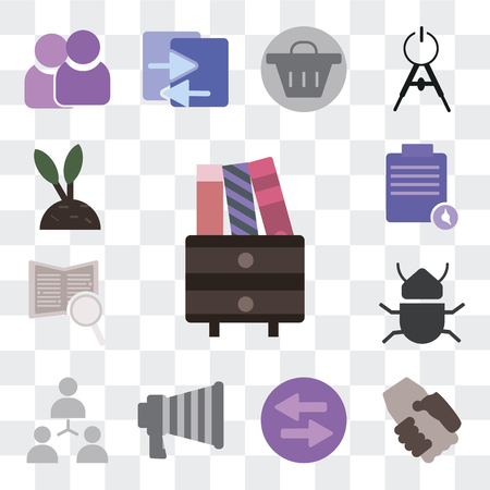 Set Of 13 simple editable icons such as Archive, Handshake, Trade, Marketing, Hierarchical structure, Bug, Book, Execution, Growth on transparent background