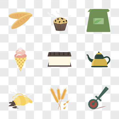 Set Of 9 simple transparency icons such as Pizza cutter, Wheat, Croissant, Kettle, Ice cream, Tea bag, Muffin, Bread, can be used for mobile, pixel perfect vector icon pack on transparent Иллюстрация