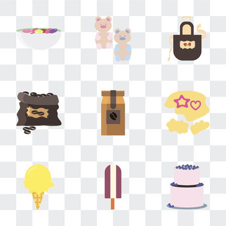 Set Of 9 simple transparency icons such as Cake, Ice cream, Mould, Coffee bag, grain, Apron, Gummy bear, Beans, can be used for mobile, pixel perfect vector icon pack on transparent