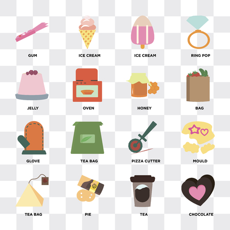 Set Of 16 icons such as Chocolate, Tea, Pie, Tea bag, Mould, Gum, Jelly, Glove, Honey on transparent background, pixel perfect