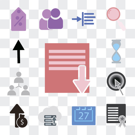 Set Of 13 simple editable icons such as Save, Certificate, Calendar, Hosting, Profit, Target, Hierarchical structure, Deadline, Social network on transparent background