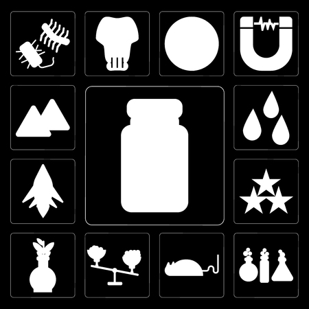Set Of 13 simple editable icons such as Medicine, Chemistry, Mouse, Scale, Flask, Star, Space ship, Drops, Warning on black background Illustration