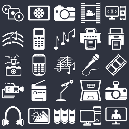 Set Of 25 simple editable icons such as Music note black, Computer tower and the monitor, Books group of three from side view, Image, Microphone, web UI icon pack, pixel perfect