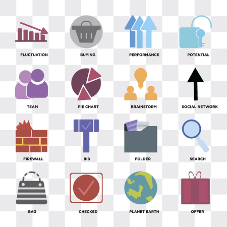 Set Of 16 icons such as Offer, Planet earth, Checked, Bag, Search, Fluctuation, Team, Firewall, Brainstorm on transparent background, pixel perfect