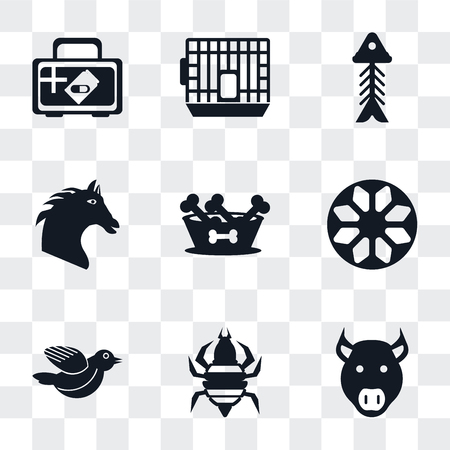 Set Of 9 simple transparency icons such as Pig, Louse, Bird, Ball, Dog food, Horse, Fishbone, Cage, Medicine, can be used for mobile, pixel perfect vector icon pack on transparent background