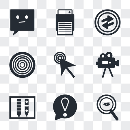 Set Of 9 simple transparency icons such as Magnifying Glass Searcher, Exclamation mark, Gross pencil, Video Camera, Mouse cursor, Gramophone record, o Arrow, Printer, Chat speech bubbles, can be used Ilustração