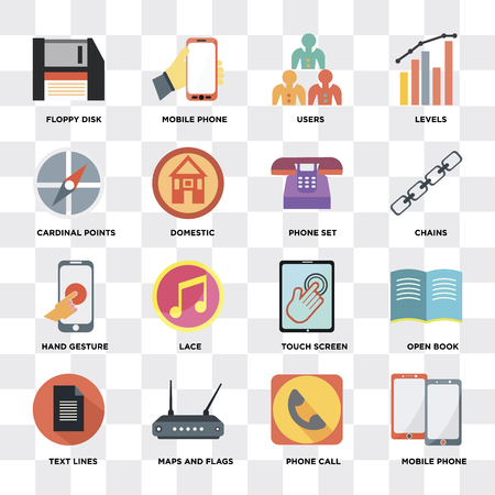 Set Of 16 icons such as Mobile phone, Phone call, Maps and Flags, Text lines, Open book, Floppy disk, Cardinal points, Hand gesture, set on transparent background, pixel perfect