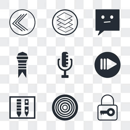 Set Of 9 simple transparency icons such as tiny key, Gramophone record, Gross pencil, Play button, RAdio Microphone, Ribbon from a book, Chat speech bubbles, Overlay, Go back can be used for