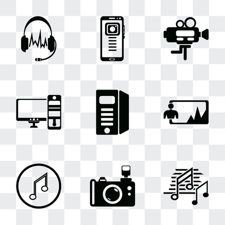 Set Of 9 simple transparency icons such as Music note black, Reflex photo camera, Musical note, Image, Computer tower, and monitor, Video Mobile phone, Headphones black shape, can be Ilustração