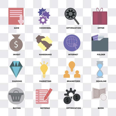 Set Of 16 icons such as Book, Optimization, Notepad, Buying, Deadline, Save, Invest, Diamond, Internet on transparent background, pixel perfect