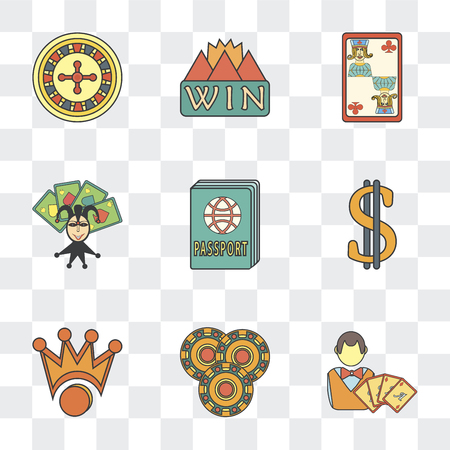 Set Of 9 simple transparency icons such as Gambler, Crown, Dollar, Passport, Jack of clubs, Win, Gambling, can be used for mobile, pixel perfect vector icon pack on transparent