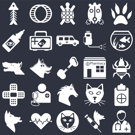 Set Of 25 icons such as Doctor, Veterinarian, Cat, Cardiogram, Dog, Fish bowl, Pharmacy, Horse, Plaster, Eye drops, Turtle, Hamster ball on black background, web UI editable icon pack Illustration