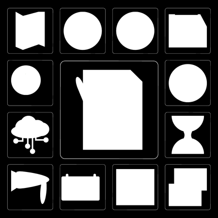 Set Of 13 simple editable icons such as Padnote, Mailing, Text lines, Weekly calendar, Reader, Sand clock, Cloud computing, Maps and Flags, Chatting on black background