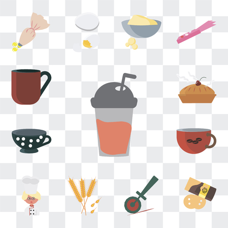 Set Of 13 simple editable icons such as Frappe, Pie, Pizza cutter, Wheat, Baker, Coffee cup, Tea Biscuit on transparent background