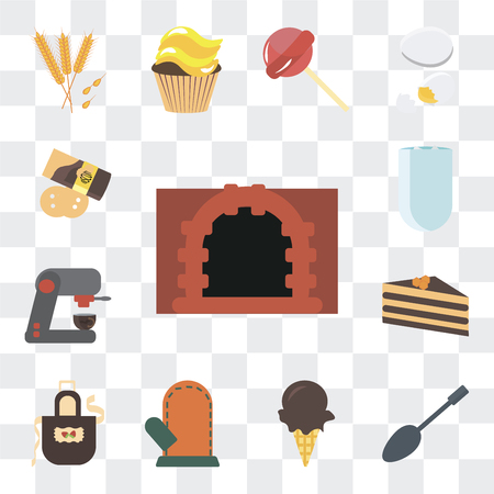 Set Of 13 simple editable icons such as Oven, Spoons, Ice cream, Glove, Apron, Cake, Coffee machine, Iced coffee, Pie on transparent background Illustration