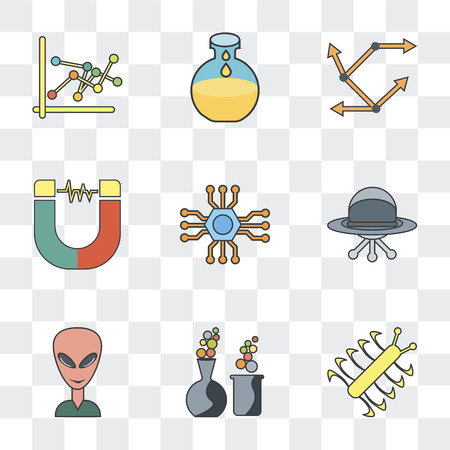 Set Of 9 simple transparency icons such as Bacteria, Chemical, Alien, Ufo, Microchip, Magnet, Movement, Flask, , can be used for mobile, pixel perfect vector icon pack on transparent background Çizim