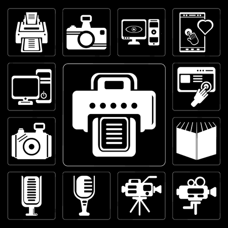 Set Of 13 simple editable icons such as Printer, Video camera, Mic, Microphone, Open book black cover, Photo Images interface, Computer tower and the monitor on background Stock Illustratie