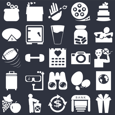 Set Of 25 simple editable icons such as Wedding cake, Bank, Swimming figure, Give up smoking, Apple and grapes, International passport, Gym weight, web UI icon pack, pixel perfect