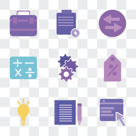 Set Of 9 simple transparency icons such as Browser, Agenda, Marketing, Commission, Cogwheel, Calculator, Trade, Execution, Briefcase, can be used for mobile, pixel perfect vector icon pack on