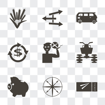 Set Of 9 simple transparency icons such as Airplane flight tickets, Compass, Piggy bank with coin, All terrain vehicle, No smoking pipe, Dollar, Bus, Directional, Ear of wheat, can be used for