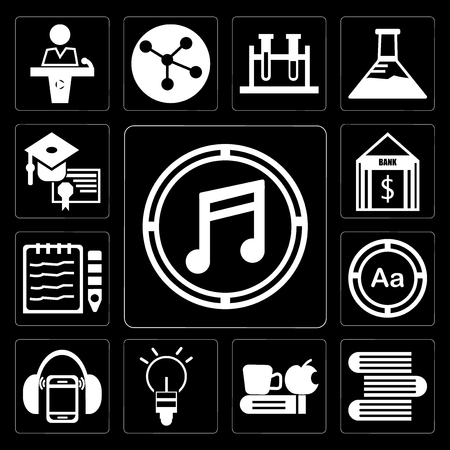Set Of 13 simple editable icons such as Musical note, Stack of books, Time to have a break, Light Ball, Mp3 player with headphones, Uppercase and lowercase letter on black background