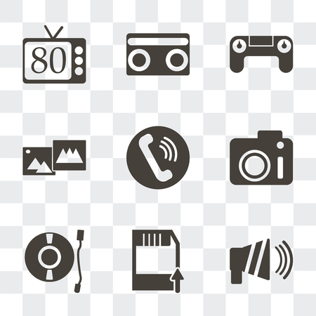 Ensemble de 9 icônes de transparence simples telles que haut-parleur, disquette, platine, appareil photo, téléphone, images, contrôleur, cassette, années 80, peuvent être utilisées pour le mobile, pack d'icônes vectorielles parfaites en pixels sur