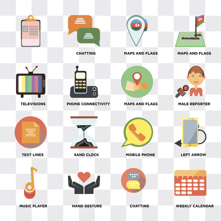 Set Of 16 icons such as Weekly calendar, Chatting, Hand gesture, Music player, Left arrow, , Televisions, Text lines, Maps and Flags on transparent background, pixel perfect