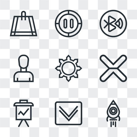 Set Of 9 simple transparency icons such as Rocket launch, Down arrow, Presentation, Cancel, Settings, Profile, tooth, Pause, Bag, can be used for mobile, pixel perfect vector icon pack on transparent