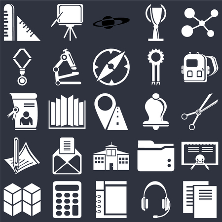 Set Of 25 icons such as Document, Headset, Notepad, Calculator, Cubes, Backpack, Bell, School, Pencil, Medal, Saturn, Blackboard on black background, web UI editable icon pack Ilustração