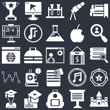 Set Of 25 simple editable icons such as eBook, Teacher giving lecture, Magnifying glass, Graduation ceremony, Stack of books, Winner medal, Office briefcase, web UI icon pack, pixel perfect
