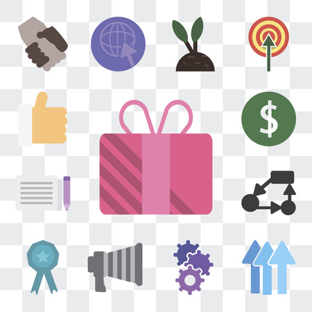 Set Of 13 simple editable icons such as Offer, Performance, Cogwheel, Marketing, Appreciation, Strategy, Gazette, Invest, Benefits on transparent background