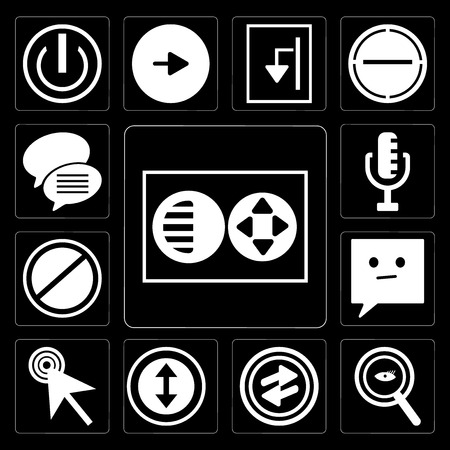 Set Of 13 simple editable icons such as Full circle, Magnifying Glass Searcher, o Arrow, Selectioned Circle, Mouse cursor, Chat speech bubbles, Prohibition RAdio Microphone on black background
