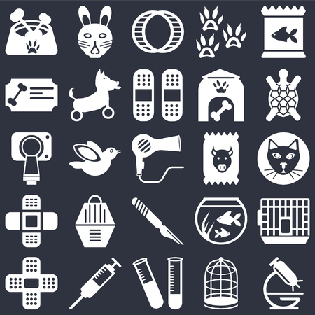 Set Of 25 icons such as Microscope, Cage, Test tube, Syringe, Plaster, Turtle, Food, Scalpel, Bandage, Certificate, Hamster ball, Rabbit on black background, web UI editable icon pack Illustration