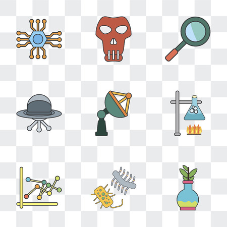 Set Of 9 simple transparency icons such as Flask, Bacteria, Burner, Satellite dish, Ufo, Loupe, Skull, Microchip, can be used for mobile, pixel perfect vector icon pack on transparent background