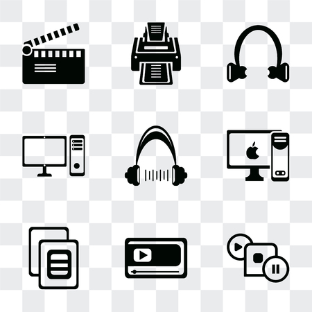 Set Of 9 simple transparency icons such as Image with frame, Movie player, variant, PC monitor, Headphone, computer Headphone black shape, Printer, clapper, can be